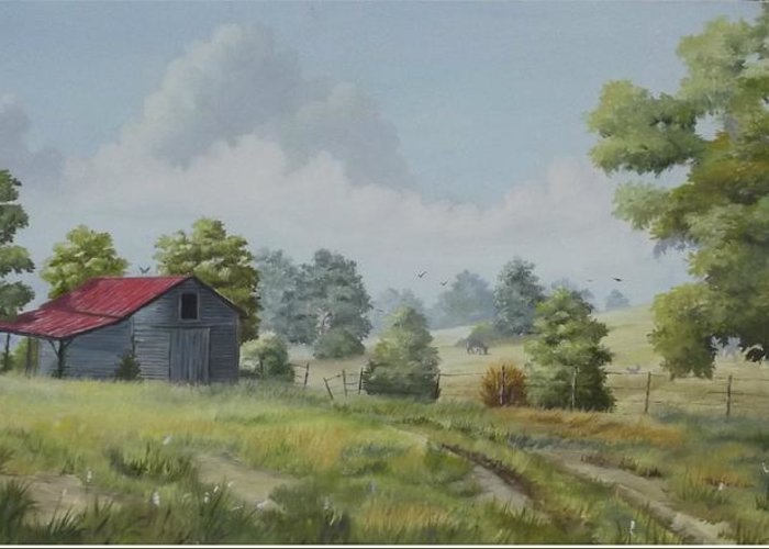 Old Barn Greeting Card featuring the painting Forgotten Homestead by Wanda Dansereau