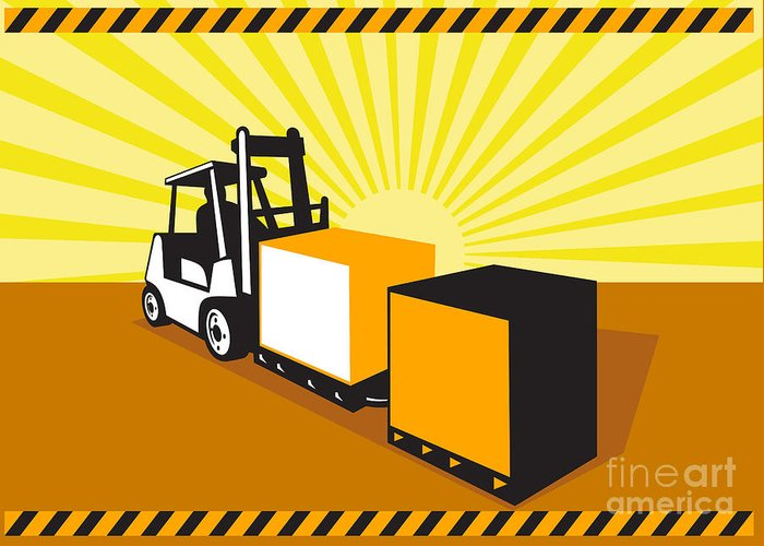 Forklift Truck Greeting Card featuring the digital art Forklift Truck Materials Handling Retro by Aloysius Patrimonio
