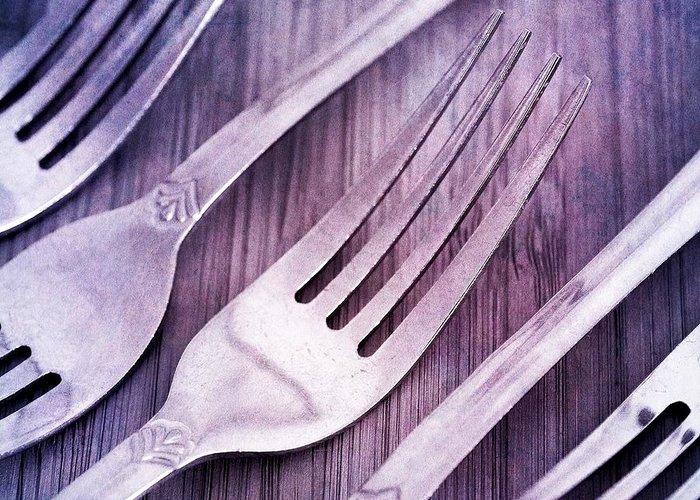 Forks Greeting Card featuring the photograph Forks by Priska Wettstein
