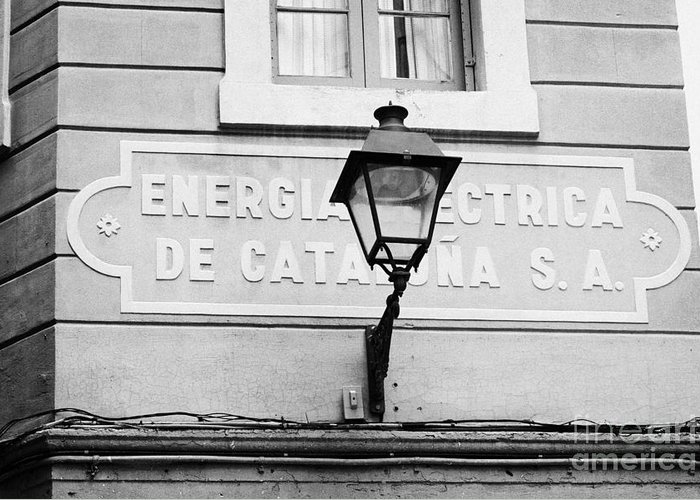 Former Greeting Card featuring the photograph former headquarters of the energia electrica de cataluna raval Barcelona Catalonia Spain by Joe Fox