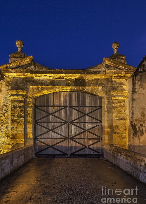 Building Entrance Greeting Card featuring the photograph Fort Castillo San Cristobal Inpuerto Rico by Bryan Mullennix