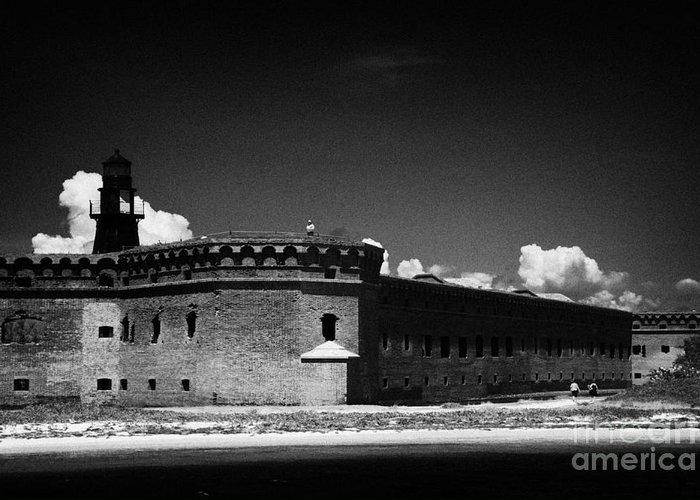 Fort Greeting Card featuring the photograph Fort Jefferson Walls With Garden Key Lighthouse Bastion And Moat Dry Tortugas National Park Florida by Joe Fox