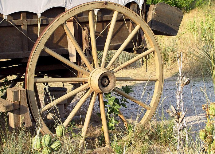 Pioneer Greeting Card featuring the photograph Fort Laramie Wy - Moving West On Wagon Wheels by Christine Till