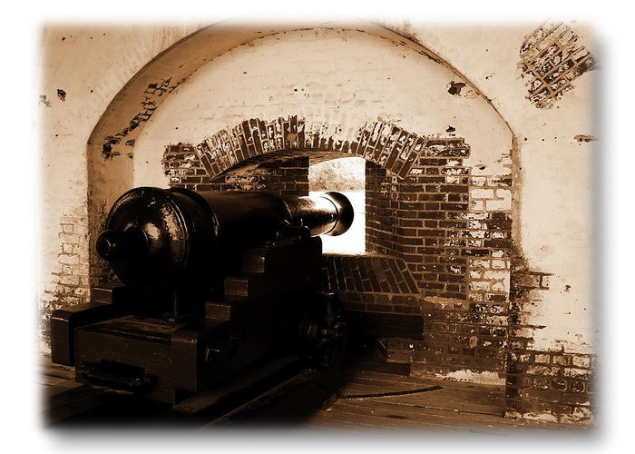 Fort Pulaski Greeting Card featuring the photograph Fort Pulaski Canon Sepia by Jacqueline M Lewis