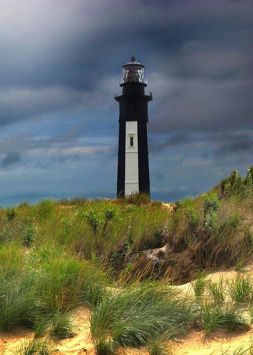 Lighthouse Greeting Card featuring the photograph Fort Story Lighthouse by Cindy Haggerty