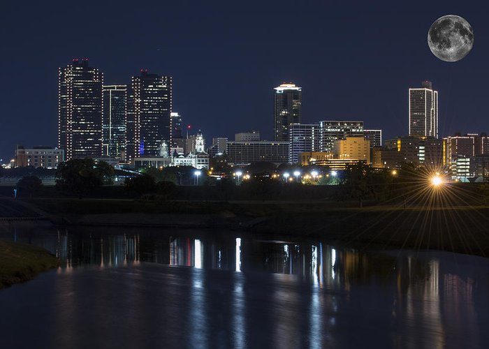 Fort Worth Skyline Greeting Card featuring the photograph Fort Worth Skyline Super Moon by Jonathan Davison