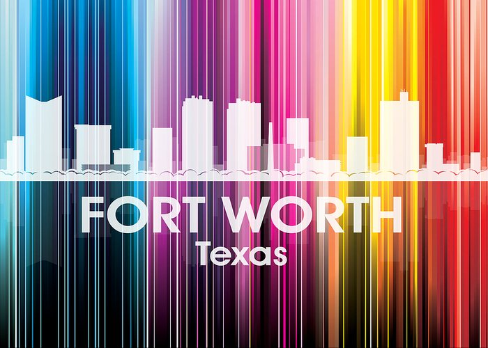 Fort Worth Greeting Card featuring the mixed media Fort Worth Tx 2 by Angelina Vick