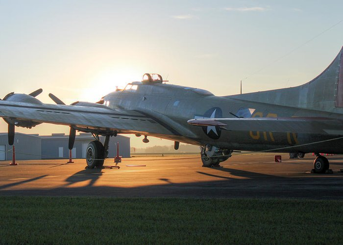 B-17 Greeting Card featuring the photograph Fortress Sunrise by Howard Markel