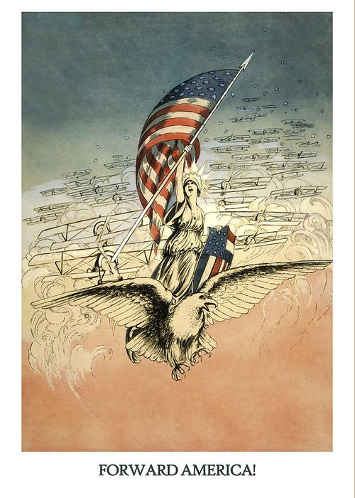 America Greeting Card featuring the drawing Forward America by Aged Pixel