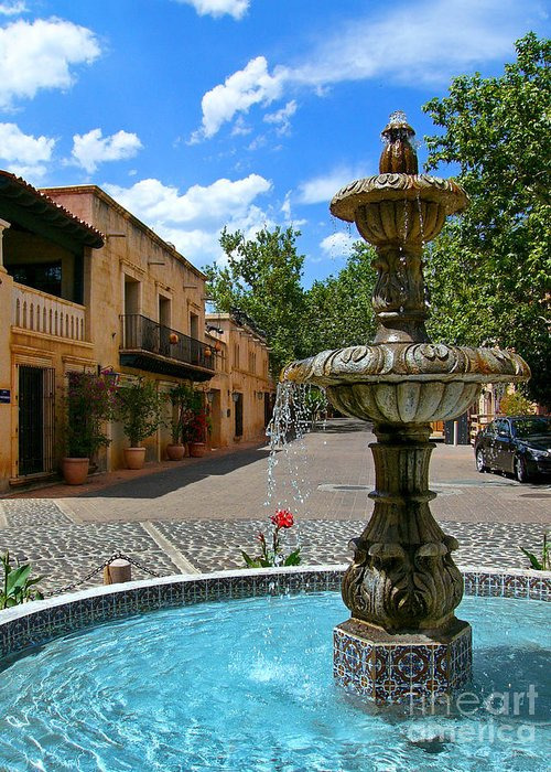 Tlaquepaque Greeting Card featuring the photograph Fountain At Tlaquepaque Arts And Crafts Village Sedona Arizona by Amy Cicconi