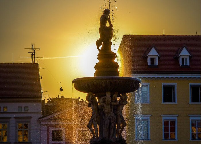 Fountain Greeting Card featuring the photograph Fountain In Sunset by Filip Masopust