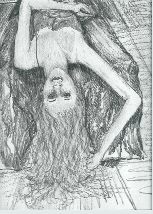 Clothed Figure Greeting Card featuring the drawing Fountain Of Hair by Joseph Wetzel