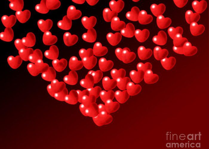 Wallpaper Greeting Card featuring the digital art Fountain Of Love Hearts by Kiril Stanchev