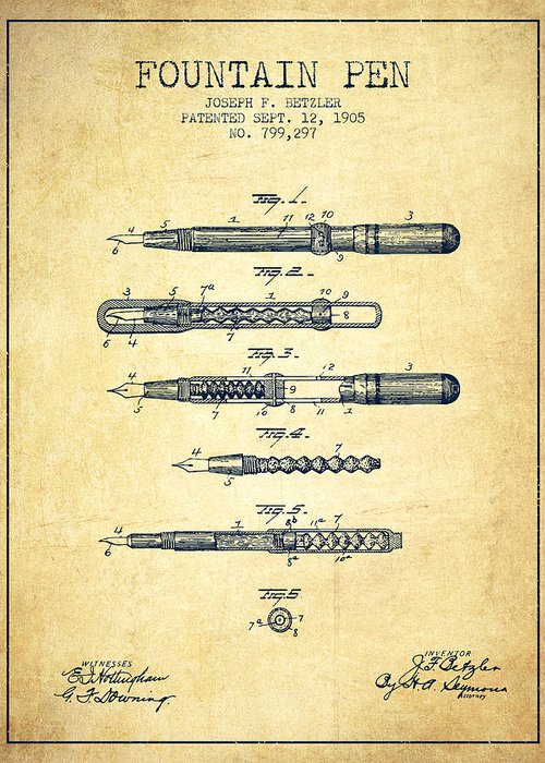 Pen Greeting Card featuring the drawing Fountain Pen Patent From 1905 - Vintage by Aged Pixel