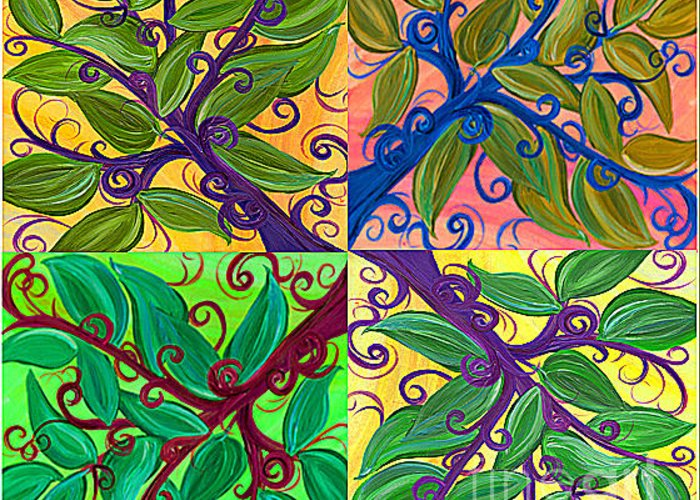 First Star Greeting Card featuring the painting Four Branches By Jrr by First Star Art