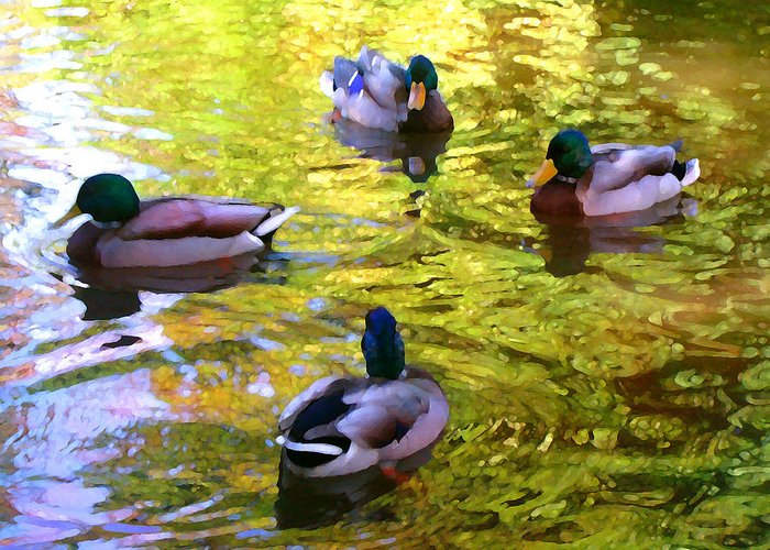 Landscape Greeting Card featuring the painting Four Ducks On Pond by Amy Vangsgard