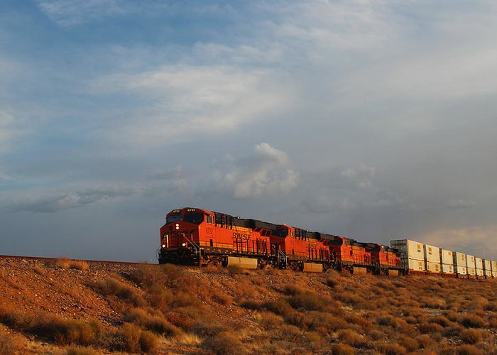 Bnsf Greeting Card featuring the photograph Four Engines by Valerie Loop