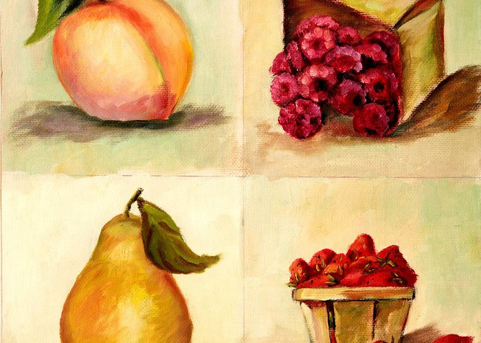 Fruit Greeting Card featuring the painting Four Fruits by Pattie Calfy