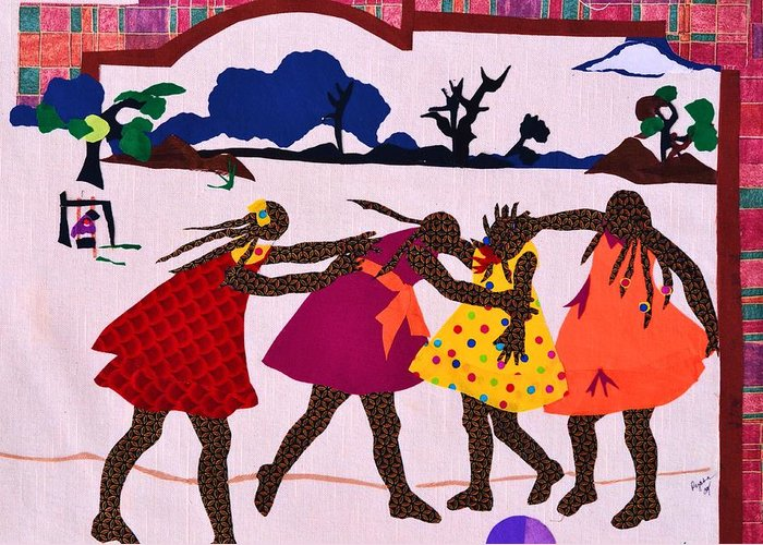 Four Greeting Card featuring the tapestry - textile Four Little Girls by Ruth Yvonne Ash