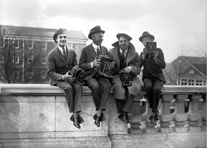 20th Century Greeting Card featuring the photograph Four Photographers by Granger