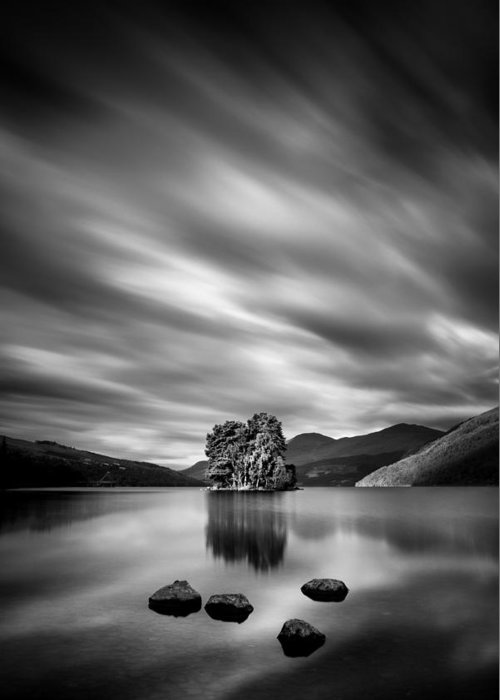 Loch Tay Greeting Card featuring the photograph Four Rocks by Dave Bowman