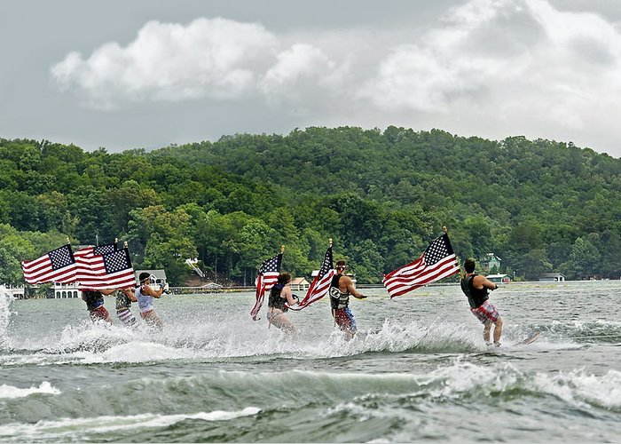 Fourth Greeting Card featuring the photograph Fourth Of July Water Skiers by Susan Leggett