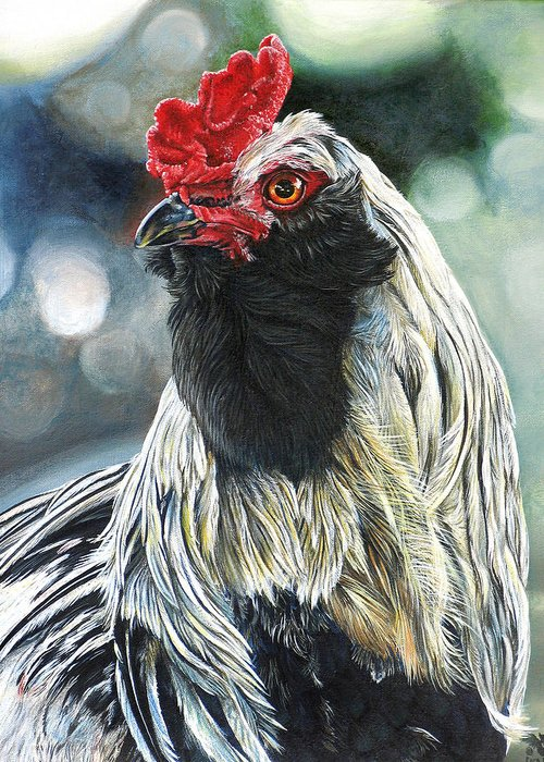 Fowl Greeting Card featuring the painting Fowl Martyr by Cara Bevan