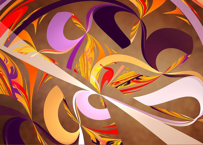 Abstract Greeting Card featuring the digital art Fractal - Abstract - Space Time by Mike Savad