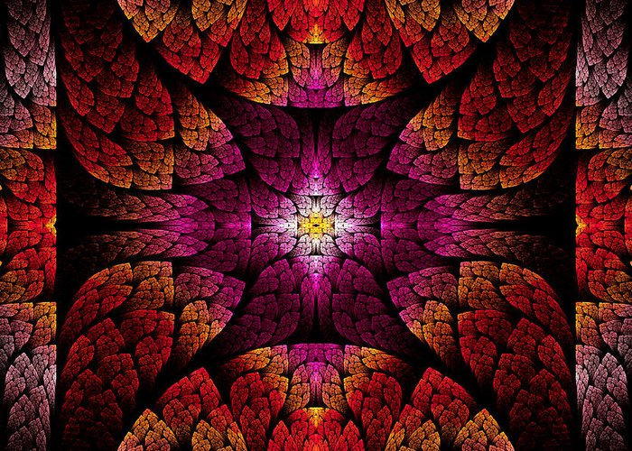Abstract Greeting Card featuring the digital art Fractal - Aztec - The All Seeing Eye by Mike Savad
