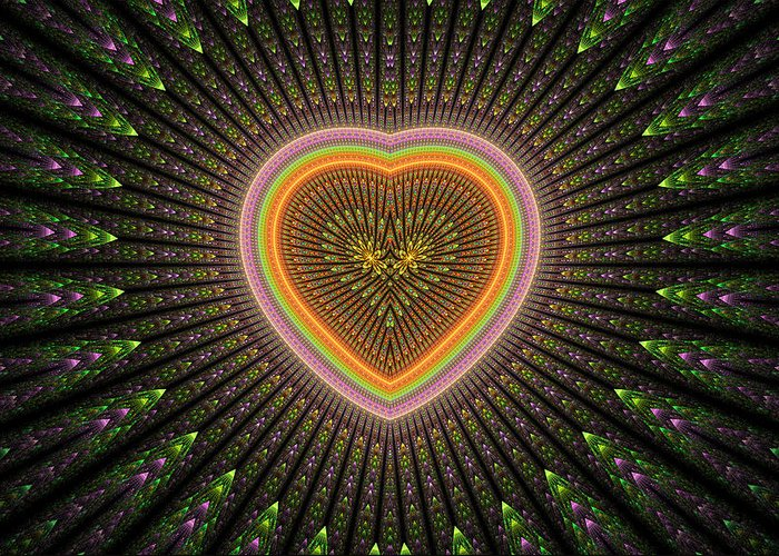 Fractal Greeting Card featuring the digital art Fractal Heart 1 by Sandy Keeton