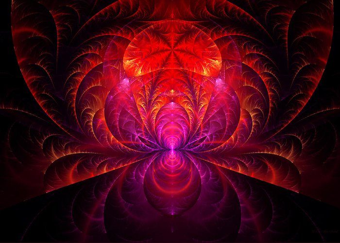 Abstract Greeting Card featuring the digital art Fractal - Jewel Of The Nile by Mike Savad