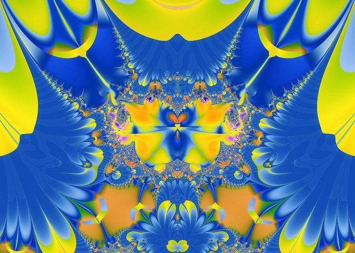 Abstract Greeting Card featuring the digital art Fractal Owl by Ian Mitchell