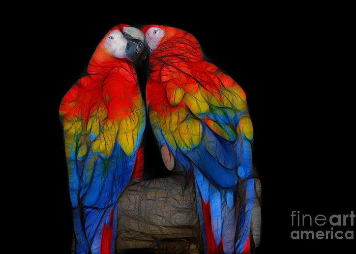 Animals Greeting Card featuring the digital art Fractal Parrots by Teresa Zieba