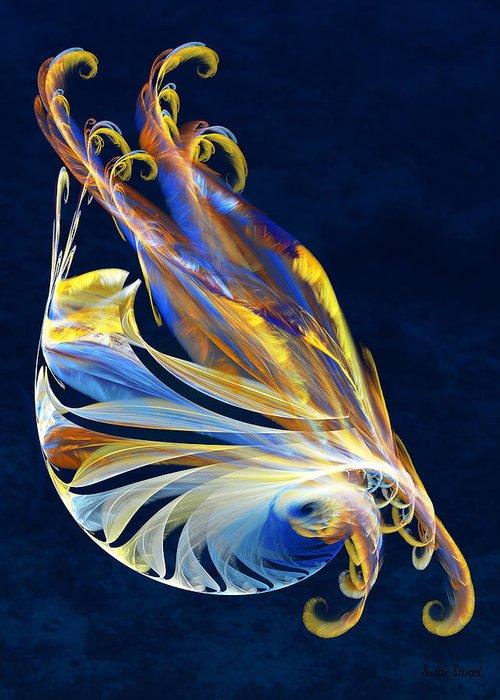 Fractal Greeting Card featuring the digital art Fractal - Sea Creature by Susan Savad