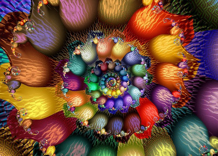 Abstract Greeting Card featuring the digital art Fractal Textured Spiral by Peggi Wolfe