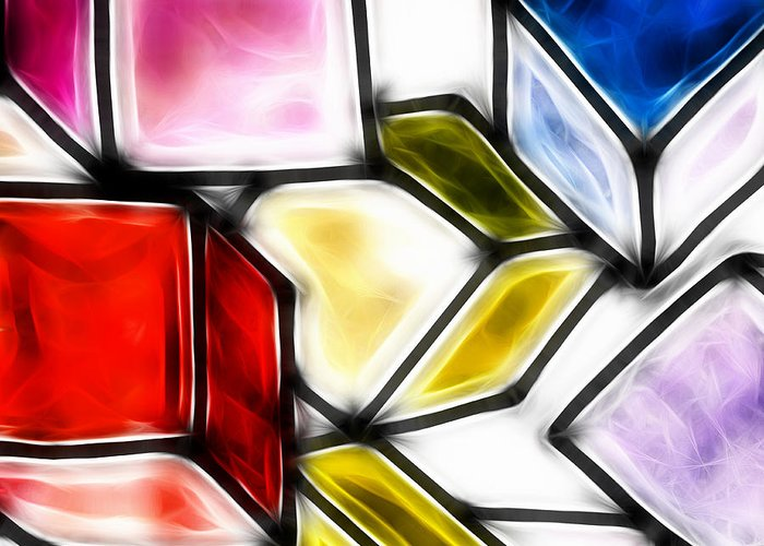 Geometric Art Greeting Card featuring the drawing Fractalius Cubes by Sharon Lisa Clarke