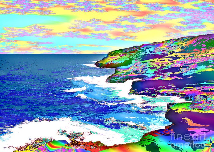 Fractal Greeting Card featuring the painting Fractalona Coast by David Friedman