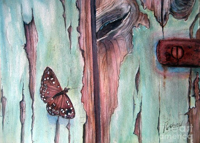 Door Greeting Card featuring the painting Fragile Beauty by Patricia Pushaw