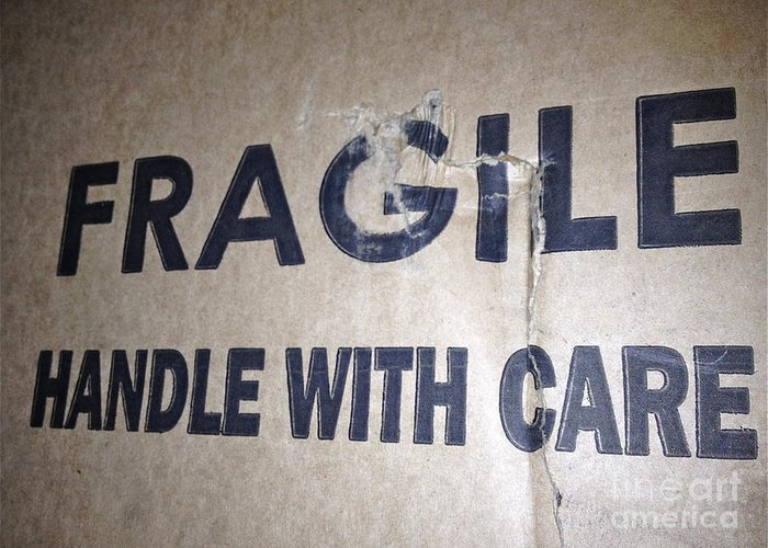 Fragile Handle With Care Greeting Card featuring the photograph Fragile by M West