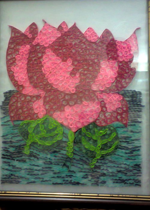 Framed And Quilled Lotus Greeting Card For Sale By Deepshikha Dey
