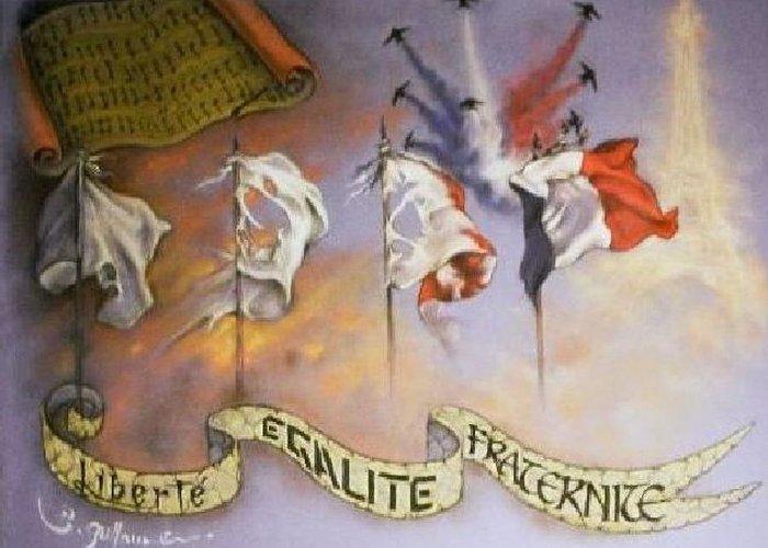 France Belle Et Rebelle Un Greeting Card featuring the drawing France Belle Et Rebelle Un by Guillaume Bruno