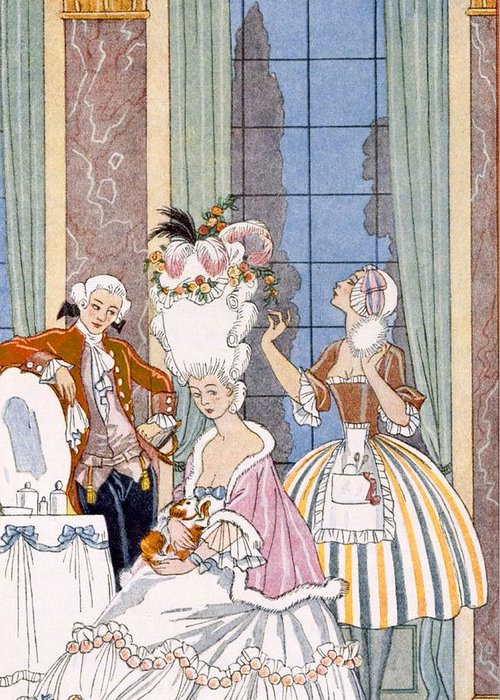 Stencil Greeting Card featuring the painting France In The 18th Century by Georges Barbier
