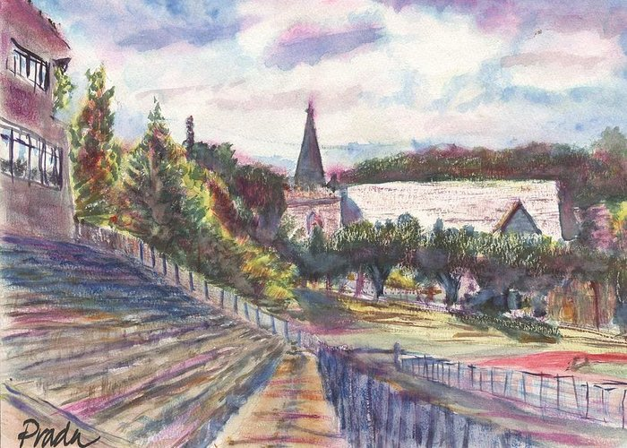 Watercolor Greeting Card featuring the painting Francis Field by Horacio Prada