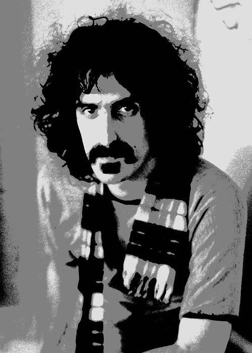 Frank Zappa Greeting Card featuring the digital art Frank Zappa - Chalk And Charcoal 2 by Joann Vitali