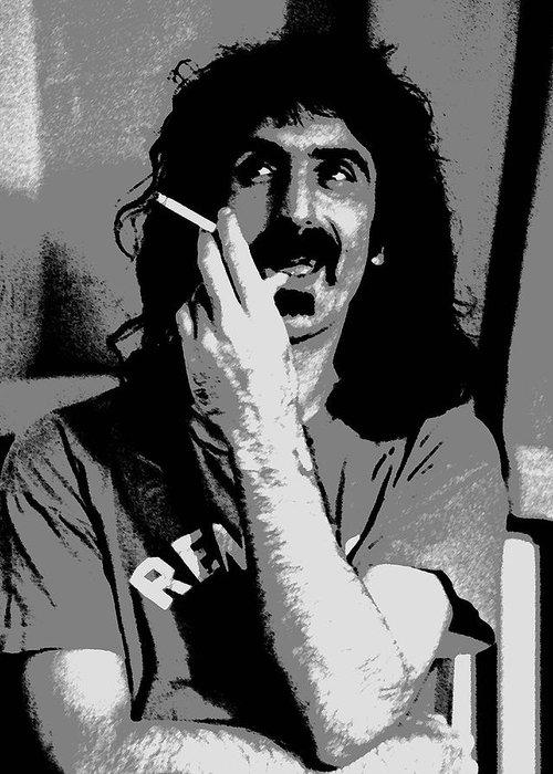 Frank Zappa Greeting Card featuring the digital art Frank Zappa - Chalk And Charcoal by Joann Vitali