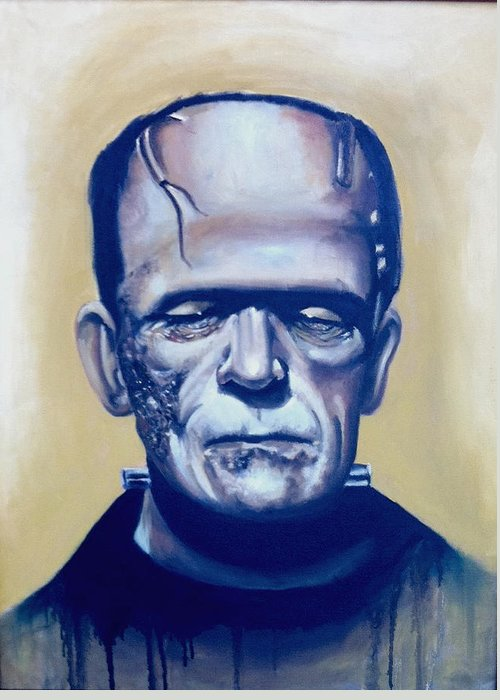 Frankenstein Greeting Card featuring the painting Frankenstein by Flaco Garcia