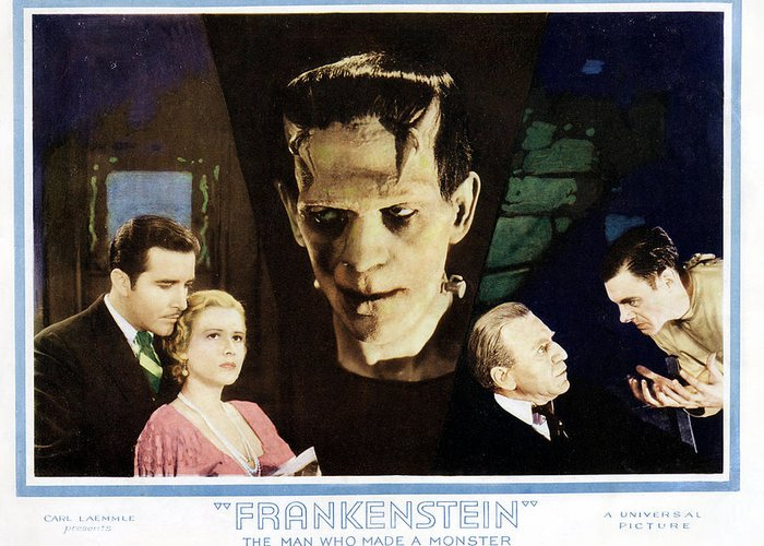 Frankenstein Greeting Card featuring the photograph Frankenstein by Silver Screen