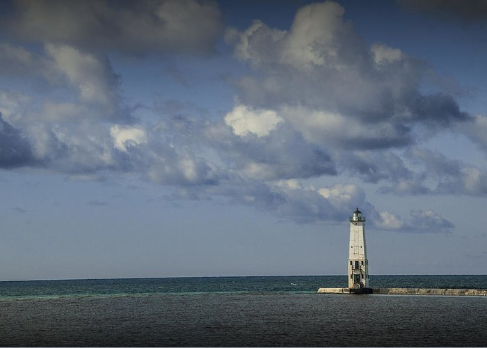 Art Greeting Card featuring the photograph Frankfort Lighthouse On Lake Michigan by Randall Nyhof