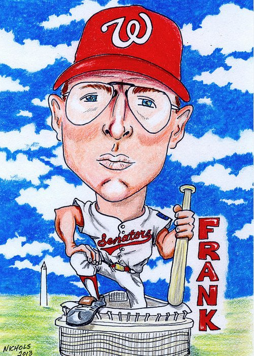 Frank Howard Greeting Card featuring the drawing Frank_howard by Paul Nichols