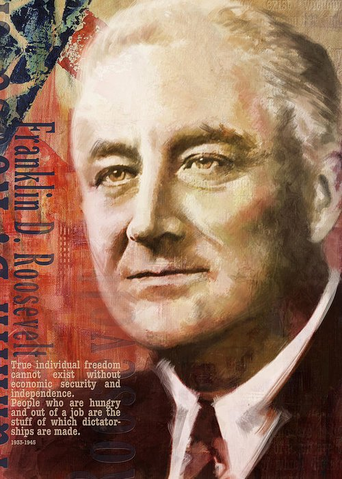 Franklin D. Roosevelt Greeting Card featuring the painting Franklin D. Roosevelt by Corporate Art Task Force